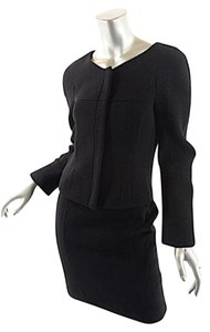 Narciso Rodriguez NARCISO RODRIGUEZ Black Wool/Linen Boucle Skirt-suit w/Zip Jacket+Skirt - US4/6