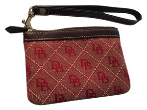Dooney & Bourke Leather Fabric Designer Wristlet in Brown and Red