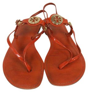 Tory Burch Gold Miller Eddie Reva Orange Sandals