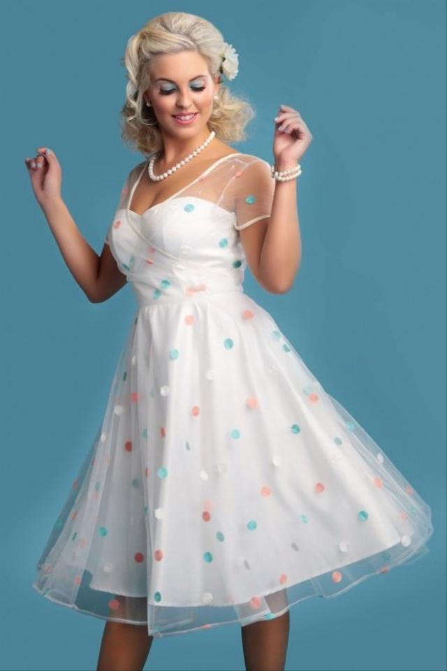 Collectif White Pink Aqua Poly Satin and Embroidered Mesh Overlay ...