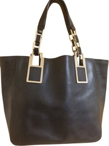 Anya Hindmarch Leather Gold Hardware Tote in Black
