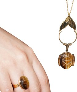 Danecraft Sterling Vintage Danecraft Gold Vermeil Sterling Tigers Eye Scarab Pendant Necklace Ring