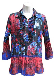 New York & Company Floral Tuxedo Chiffon Top Black Multi