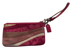 Coach Cute Fun Leather Cloth Wristlet in Pink, Gold and White