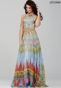 Jovani Multi Print 23419 Halter Boho Chic Dress