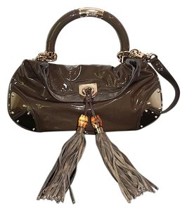 Gucci Tassels Patent Leather Tote Brown Hobo Bag