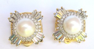 Dorlan Dorlan Signed Crystal & Pearl Clip Earrings