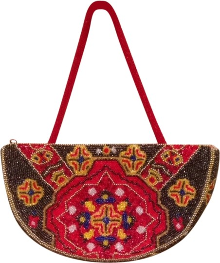 Other Wristlet in Red, Gold, Multi