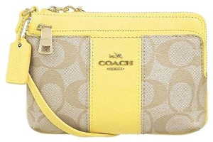 Coach Wristlet in LIGHT KHAKI/YELLOW