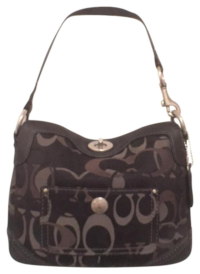 a8b681a1f00 Coach Chelsea Optic Signature Logo Suede Leather Trim 10141 Black Gray Canvas  Shoulder Bag