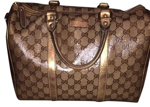 Gucci Monogram Metallic Duffle Satchel in Metallic Gold