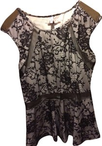 Studio Y Peplum Sheer Panel Print Top Black and white
