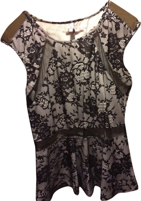 Studio Y Peplum Sheer Panel Print Floral Top Black and white
