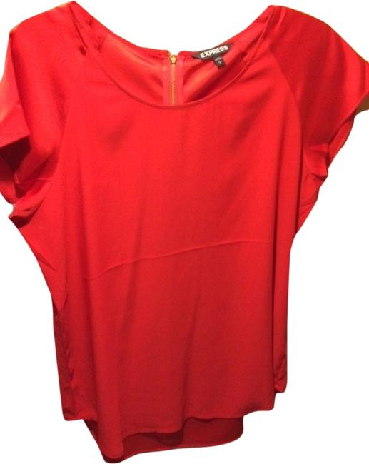 Express Satiny Zipper Top Red