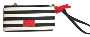 Betsey Johnson Multi compartment black/bone stripe wallet/wristlet /