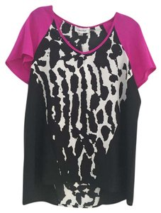 Calvin Klein Top Black/white w/ magenta