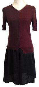 Carven short dress Red and Black Knit Two-tone Asymmetric 3/4 Sleeves Sweater on Tradesy