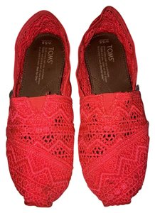 TOMS Lace Crochet Comfortable Casual Neon Neon Coral Flats
