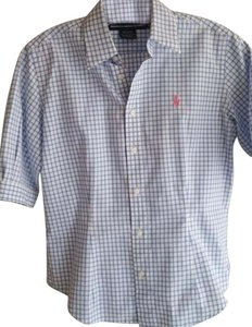 Ralph Lauren Button Down Shirt Fitted Pale Blue