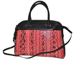 MILLY Watersnake Handbag Satchel in Black and Flou Coral, Silver Hardware