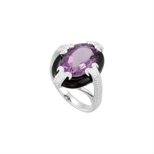 Other Vintage Inspired Sterling Silver Genuine Amethyst & Onyx Statement Ring