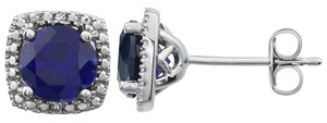 Other Sterling Silver 6mm Lab Created Sapphire & .015 CTW Diamond Halo Stud Earrings