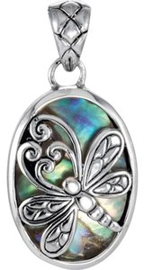 Vintage Inspired Sterling Silver Abalone Dragonfly Pendant Enhancer