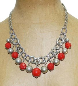 Ruby Rd. Tarnished Silver Plated Thick Chain Red Thermoset Lucite