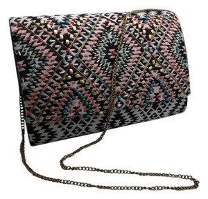 Aztec Free Shipping Multi - Tribal -Teal Clutch