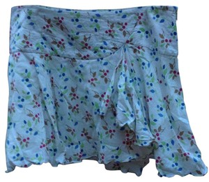 American Eagle Outfitters Mini Skirt White with blue, green, brown, pink