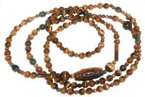 48 inch's Of Real Tiger Eye.. One Carved Stone Over A Inch And A Half, No Clasp