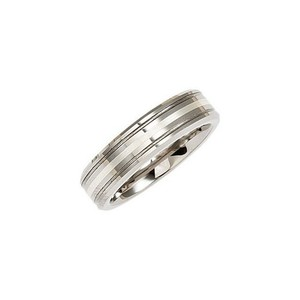 Tungsten 6.3mm Grooved Wedding Band Ring With Sterling Silver Inlay