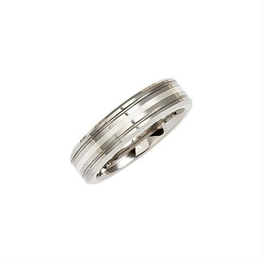 Tungsten 6.3mm Grooved Ring with Sterling Silver Inlay Men's Wedding Band