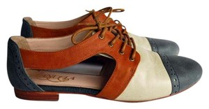 Candela Oxford Cut-out Summer Leather Blue, Tan and Off-White Flats
