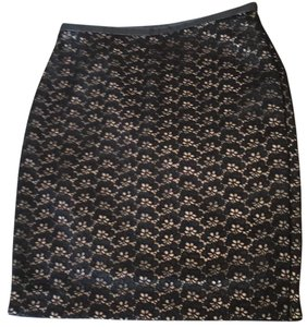 Diane von Furstenberg Skirt Black & ivory with leather waist trim