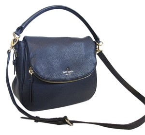 Kate Spade Satchel Leather Navy Gold Cross Body Bag