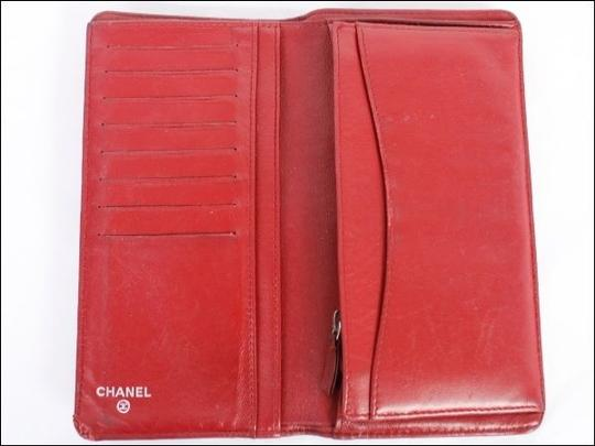 Chanel Chanel Yen Wallet Bifold Red Leather Quilted CC