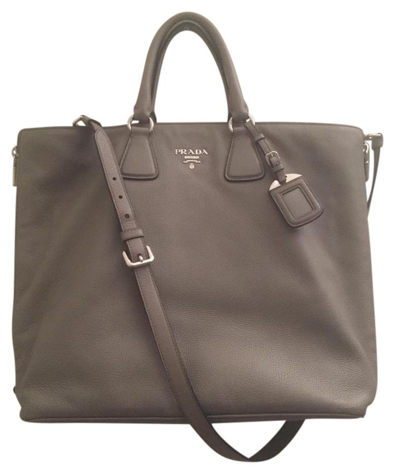 8988a5d44093 Prada Vitello Phoenix Large Argilla (Dark Grey) Soft Pebbled Leather Tote