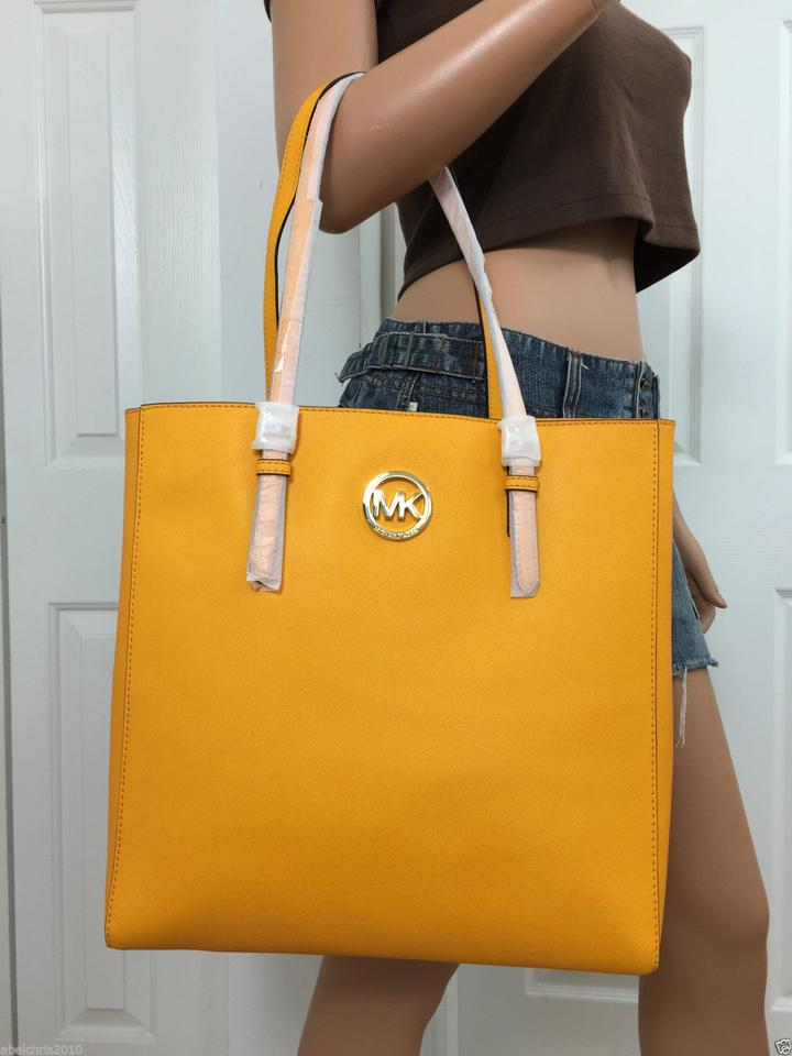 9e4af7c72d5f Michael Kors Large Shoulder Vintage Yellow Saffiano Leather Tote - Tradesy