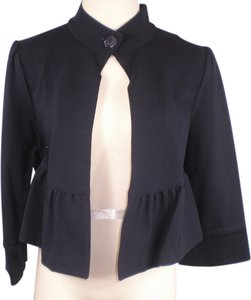 Diane von Furstenberg Navy One Button 3/4 Sleeve Flair Ruffle Blue Blazer