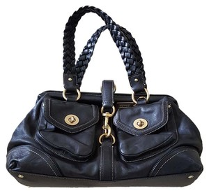 Coach Braided Leather Satchel in Black