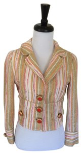 Dolce&Gabbana Crop Dolce And Gabbana Stripes Orange And Metallic Large Buttons multi- colored Jacket