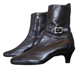 Prada Square Toed Leather Black Boots