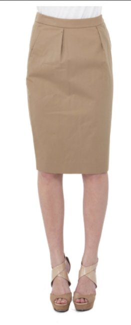 Saint Laurent Yves St. Pencil Skirt Khaki