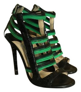 Jimmy Choo Corsica Color Vibrant Python Black/Green Sandals