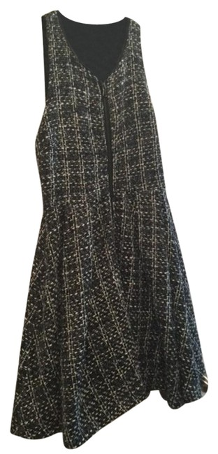 Item - Gray and White Tweed Zipper Mid-length Short Casual Dress Size 2 (XS)