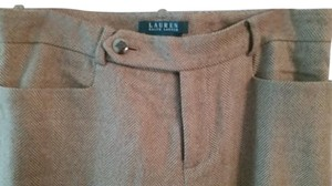 Ralph Lauren Tweed Silk Lined Straight Pants light brown