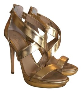BCBGMAXAZRIA Leather Heels Gold Sandals