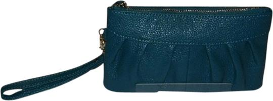 Impulses New Leather Zipper Closure Wristlet in Teal