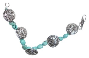 Other 8 inch Real Turquoise Bracelet With 5 Sterling Silver Buttons Each One 1 Inch Wide, 925 Stamped Clasp